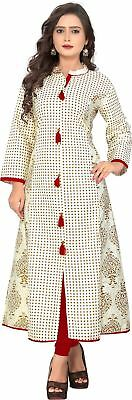Women Printed Pattern White Color Full Sleeve Casual Kurta