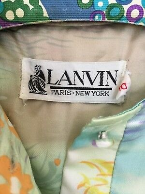 60's Lanvin vintage dress. Shirt dress with attached scarf Spring mod rich hippy