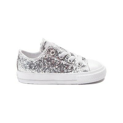 Toddler Girls Infants Converse Chuck Taylor All Star Low Silver Glitter 759217C