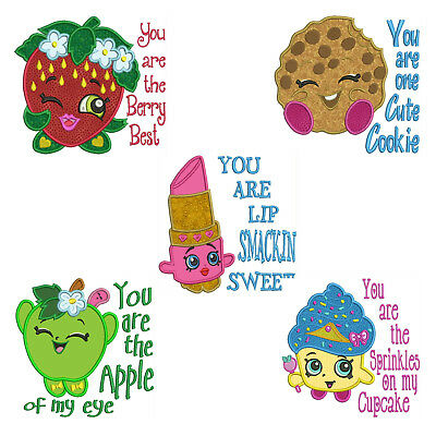 SHOPKINS * Machine Applique Embroidery Patterns ** 5 Designs, 4 sizes