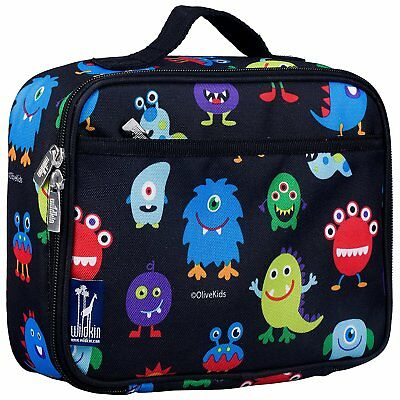 Black Monsters Lunch Box Toddler School Insulated Fabric Snack Bag Boy Child New