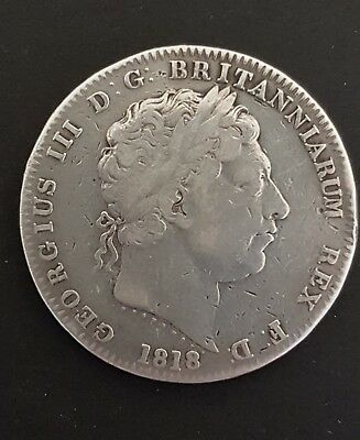 1818 Silver Crown coin George III. LIX on rim