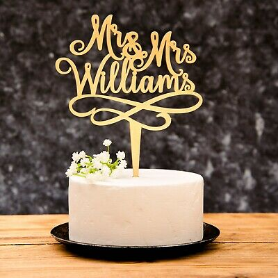 Personalised Wooden Calligraphy Mr and Mrs Wedding Cake Topper