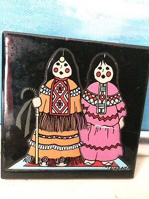 Vintage Native American Indian Cleo Teissedre Handcrafted Tile