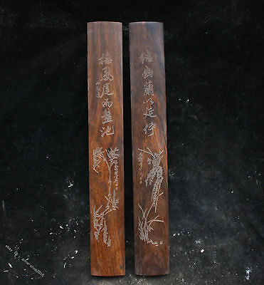 12''Collect  Chinese Old wood Hand-carved Rosewood Paperweight 镇纸 sculpture