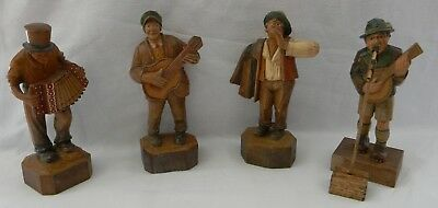 Antique Rhon Sepp Made In Germany Wood Carving Figures Men In Music Band Rare