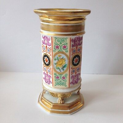 Antique 19th Century French Porcelain Spill Vase Painted With Flowers 14cm