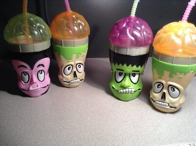 lot of 2 halloween theme brain sippy sipper cup with straw