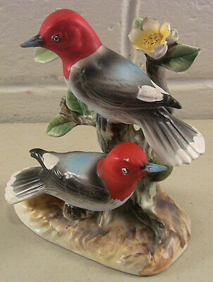 Vintage Ceramic Bird Figurines Woodpeckers on Branch Enesco Imports Japan