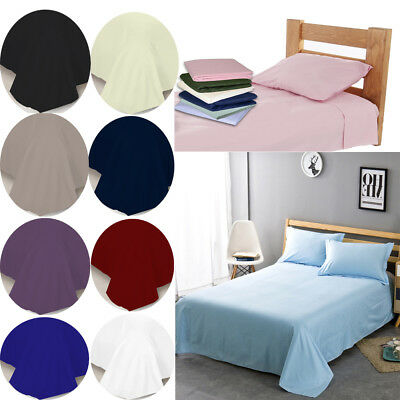 New Soft Plain Dyed Flat Sheet Poly-cotton Bed Sheets Single Double King UK Size