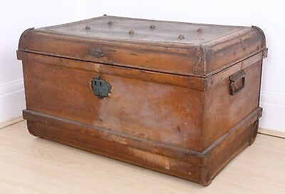 Vintage Heavy Metal Trunk Blanket Box Table Lovely Patina Large