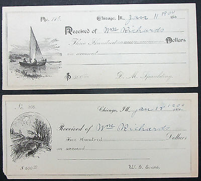 US Chicago Two Checks from 1900 $300 and $500 - 2 Amerika Schecks (I-8499+