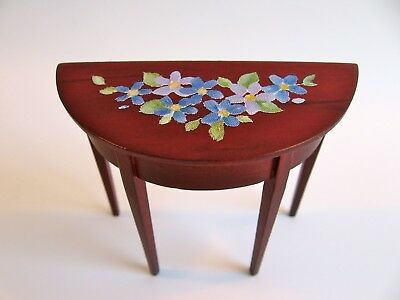 dollhouse doll house miniature ACCENT TABLE WOOD MAHOGANY FLOWER