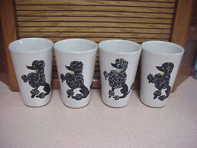 Set of 4 Tall Glidden #1127 Poodle Drinking Glasses~Lord & Taylor - New York
