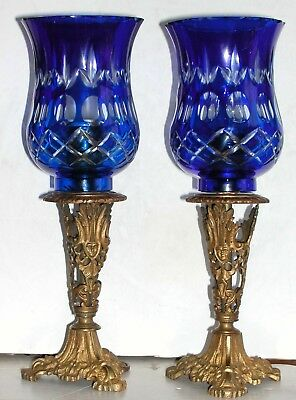 Pair Antique Ormolu Figural Egyptian Candlesticks Lamps Blue Cut to Clear Shades