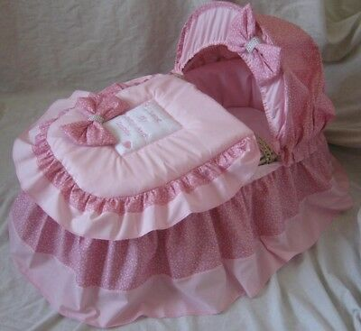 'i Love My Mummy And Daddy' Pink  Moses Basket Cover Set By Babyfanzone