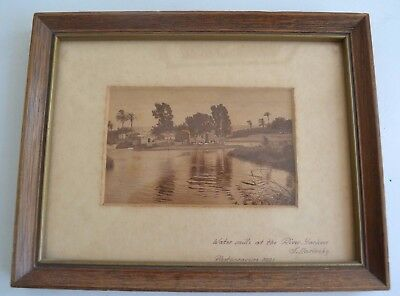 Vintage Antique Tel Aviv framed Photo Postcard Israel Hebrew Judaica Israeliana