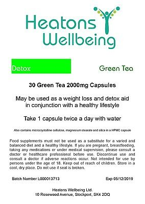 Green Tea 2000mg capsules. Detox, weight loss, slimming. Price Drop BBE 12/2019