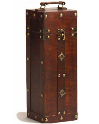 Chateau: Treasure Chest Wine Box Wooden Wood Brown Vintage Portable Classic