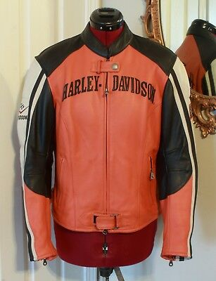 Harley Davidson Women's  Size L Black Orange Leather Jacket Racing and Padded Sh