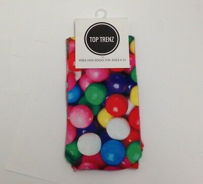 Top Trenz Gum Balls Knee High Socks, For Ages 6-13, Green, Pink, Blue, Red