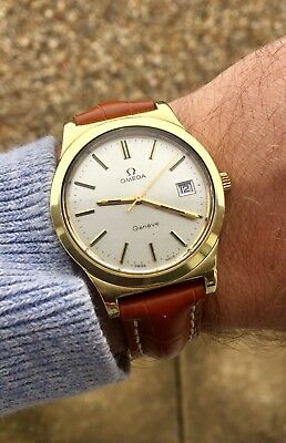 Vintage Gold Omega Date Geneve Mens Cal 1030 Watch Mechanical Movement + Box