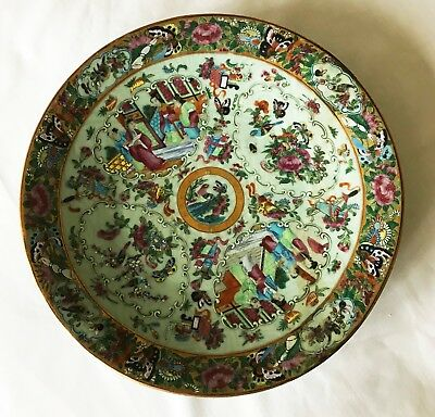 """Antique Chinese Green Celadon Ornate Hand Painted Large 14"""" Plate Platter"""
