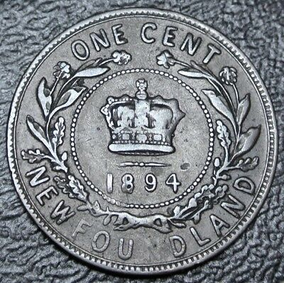 OLD CANADIAN COIN 1894 NEWFOUNDLAND ONE CENT - Victoria - Nice DETAILS