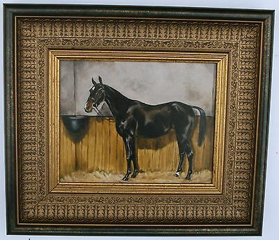 Black Horse in Stable Framed Oleograph 203#W   Reproduction Antiques