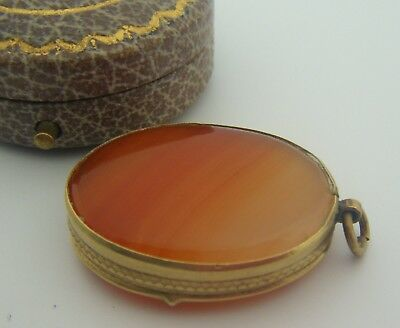 Rare Antique Early C1800's Agate Portable Snuff or Pill Box Pocket Fob / Pendant