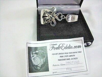Silver Plated Fork Harmony Heart Bracelet Bangle Vintage Cutlery Forkedelic