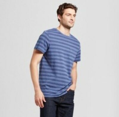 6344070740 Goodfellow   Co Men s XL Iconic Sky   Slate Blue Striped Short Sleeve Tee