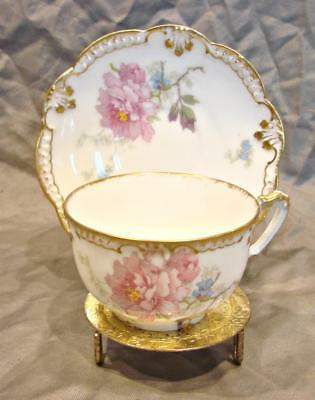 French Limoges Demitasse Cup Saucer Pink Chrysanthemums Gold