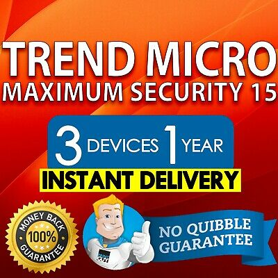 Trend Micro Maximum Security 15 2019 1 Year 3 Devices | INSTANT DELIVERY