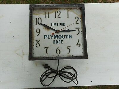 """Sessions Clock Vintage Advertising Sign """"TIME FOR PLYMOUTH ROPE """"  Auto 1920's"""