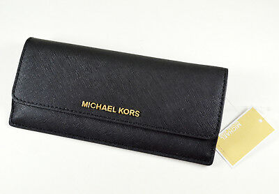 Michael Kors Jet Set Travel Slim Saffiano Leather Flat Wallet $128 Black Gold