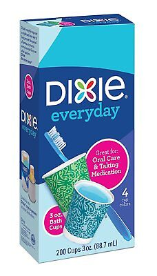 Dixie Everyday Disposable Bath Cups, pack of 200 Count, 3 Ounce Paper Cups; Desi