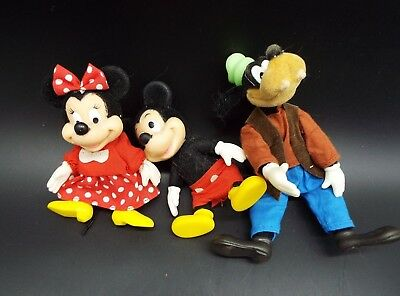 Vintage Lot Walt Disney Fuzzy Flocked Figures Goofy Mickey Minnie
