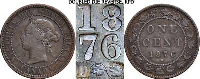 1876-H One Cent Canada RPD Repunched Date Closed D 1C Large Cent
