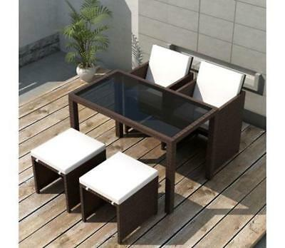 Fantastic Brown Rattan Outdoor Dining Furniture Set 4 Seat Table Chair Theyellowbook Wood Chair Design Ideas Theyellowbookinfo