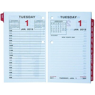 """2019 At-A-Glance E017-50 Daily Calendar Refill With Monthly Tabs, 3-1/2x5-27/32"""""""