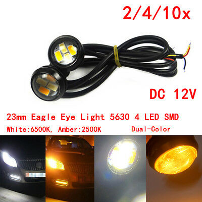 23mm Dual Color Switchback 5630 6 LED DRL Car Eagle Eye Daytime Fog Light DC 12V