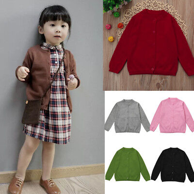 Cute Toddler Boy Girls Clothes Knitted Colorful Solid Sweater Cardigan Coat Tops