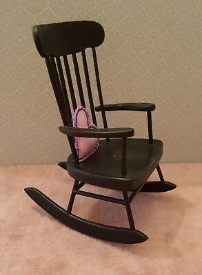 Dollhouse miniature artisan made painted wood rocking chair 1:12, signed