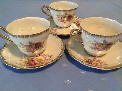Fine China - 3 Cups & Saucers - Made in Japan