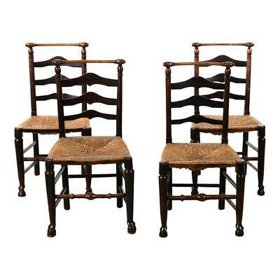 18th century set of 4 Fabulous Country carved Ladder Back Chairs