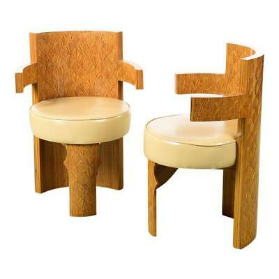 Art Deco Style Beautiful Barrel Chairs - a Pair