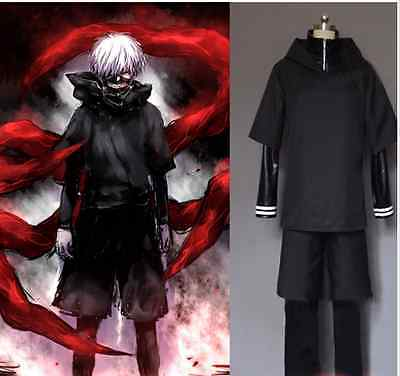 Tokyo Ghoul Kaneki Ken Black Hoodie Sweater Leather Cosplay Costume Full Outfit
