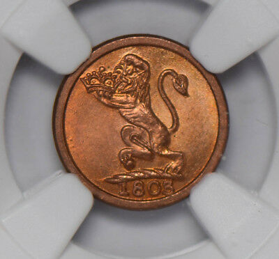 India Princely States 1803 Madras Presidency Cash NGC MS66RD finest known! NG063