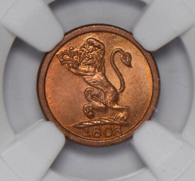 NG0639 India Princely States 1803 Madras Presidency Cash NGC MS66RD finest known